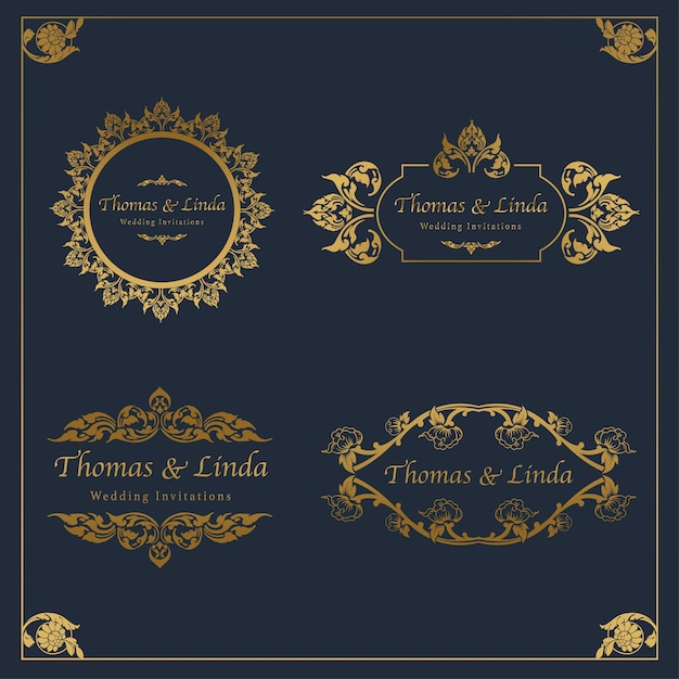 Vintage wedding labels vector Premium Vector