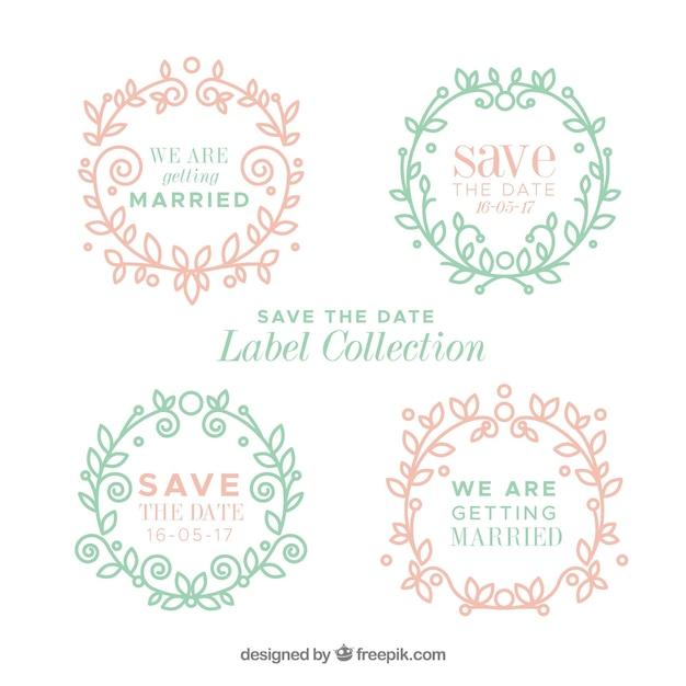 Vintage wedding labels with floral frame
