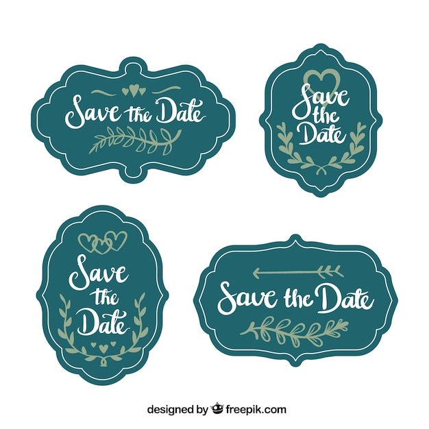 Vintage wedding labels with fun style Free Vector