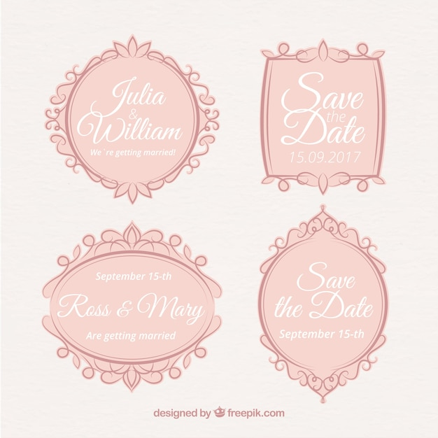 Vintage wedding labels with retro ornaments