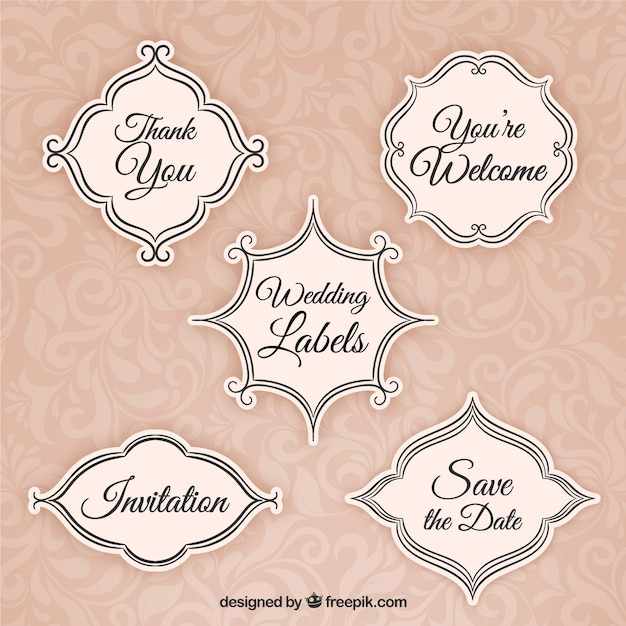 Vintage wedding labels