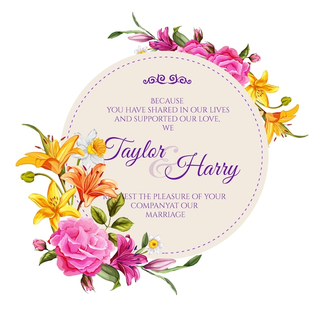 Vintage wedding, marriage invitation card template with elegant flowers. realistic rose, lily flower