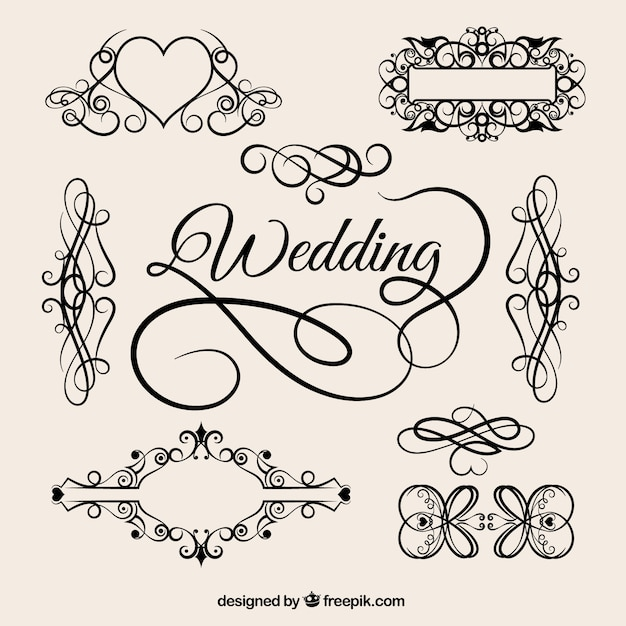 Vintage wedding ornaments Free Vector