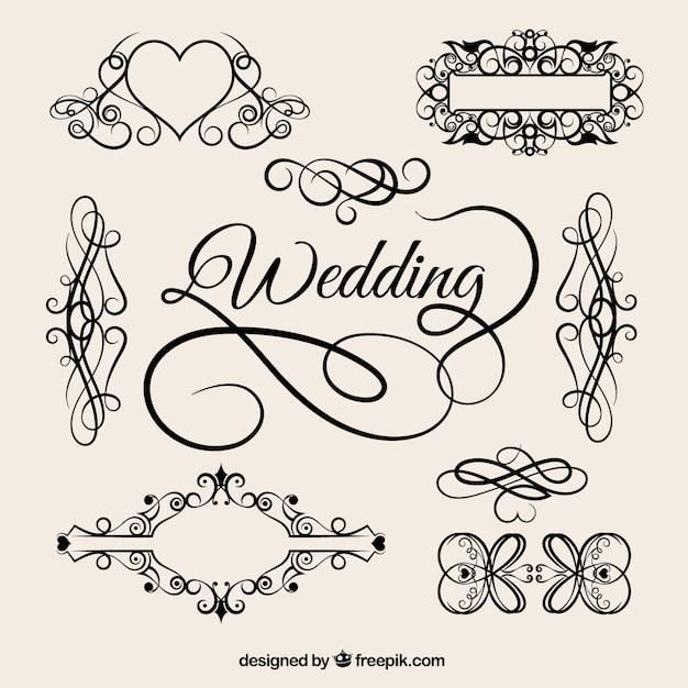 Vintage wedding ornaments Vector Free Download