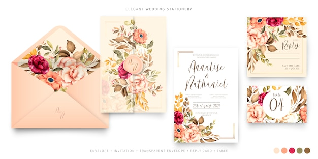 Vintage wedding stationery template Free Vector