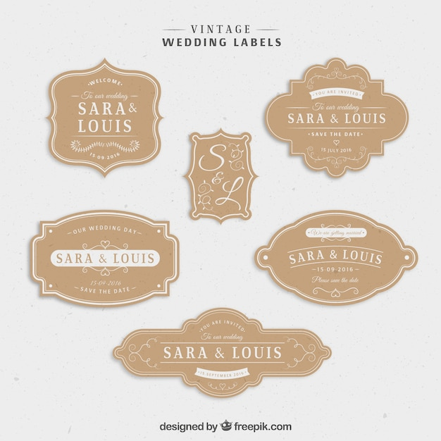 Vintage wedding stcikers set Free Vector