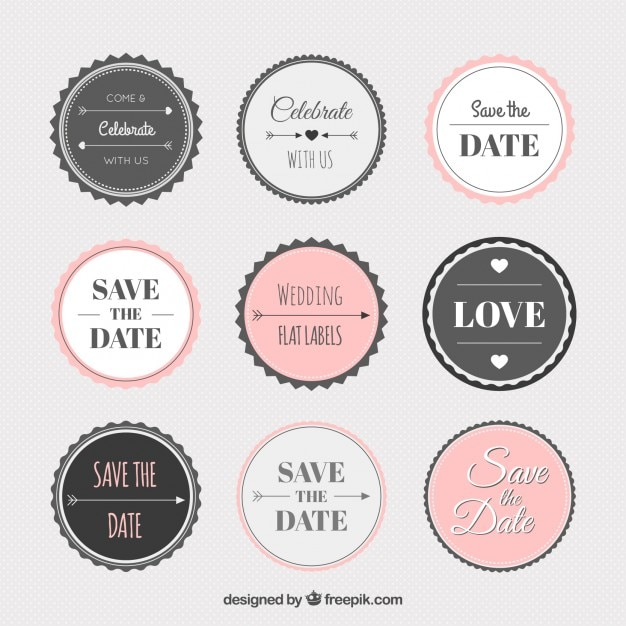 vintage wedding sticker collection vector free download. Black Bedroom Furniture Sets. Home Design Ideas