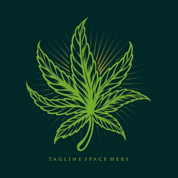ヴィンテージ雑草の葉マリファナのイラスト Premiumベクター