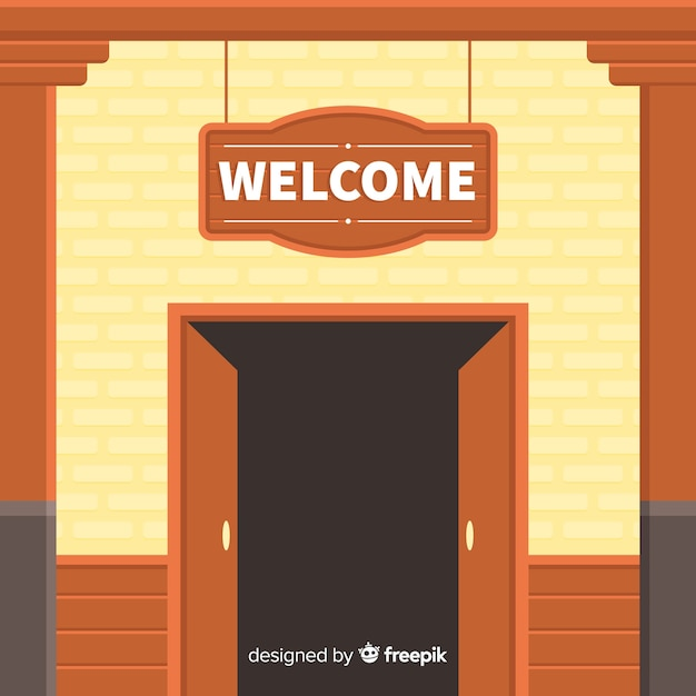 Vintage welcome composition with flat design Free Vector