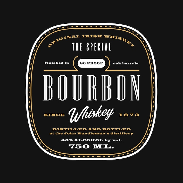 Vintage western alcohol beverage label, bourbon whiskey label template blackboard Premium Vector