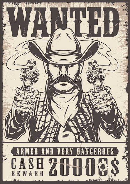 Vintage western wanted monochrome poster Premium Vector