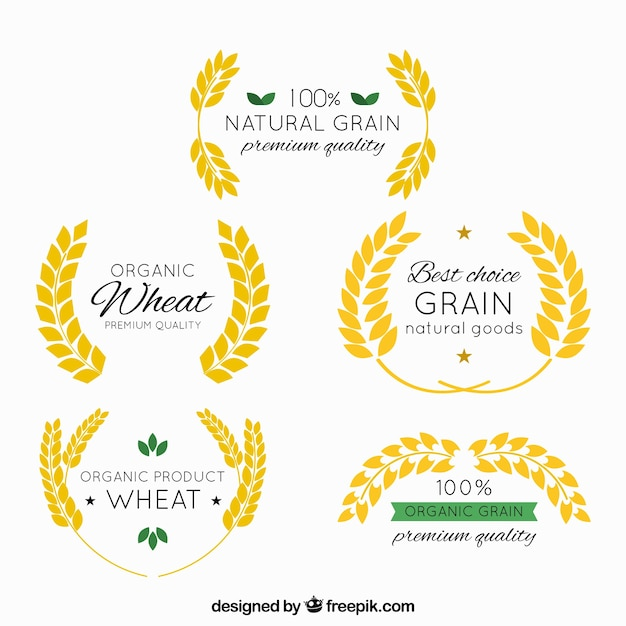 Vintage wheat logo collection Free Vector