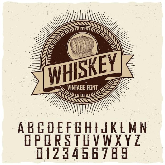 Плакат шрифта этикетки старинного виски с образцом дизайна этикетки Бесплатные векторы