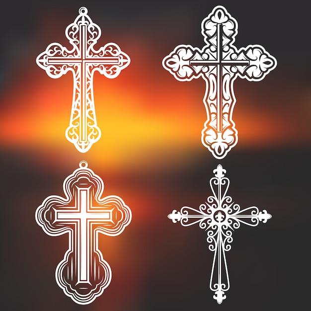 ビンテージホワイトの華やかな宗教的な十字架のコレクション 無料ベクター