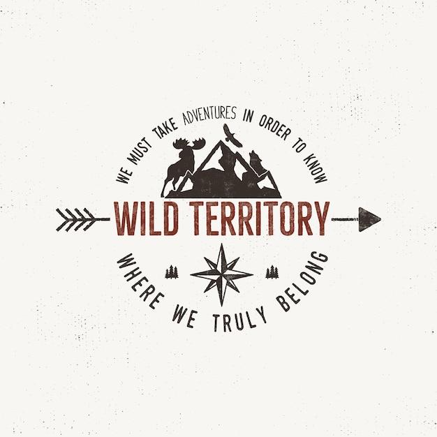 Vintage wild emblem. retro illustration of wilderness . Premium Vector