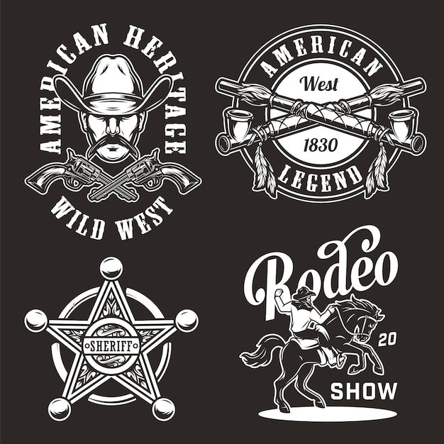 Vintage wild west badges set Free Vector