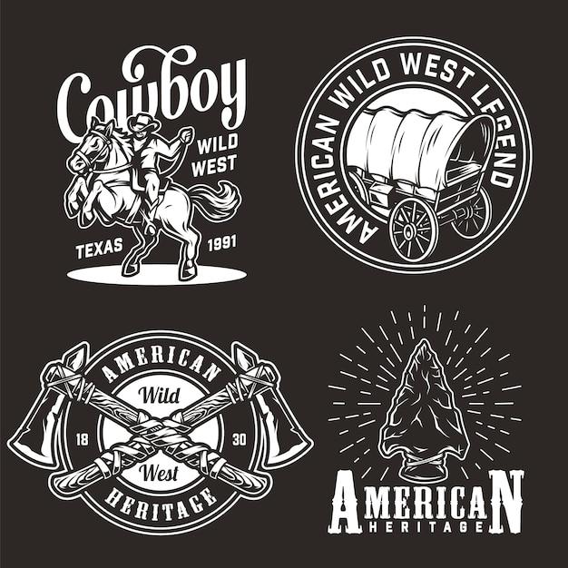 Vintage wild west emblems set Free Vector