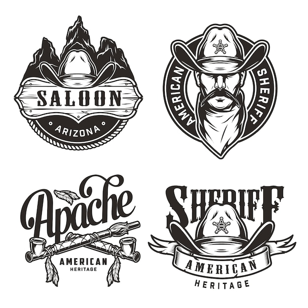 Vintage wild west labels set Free Vector