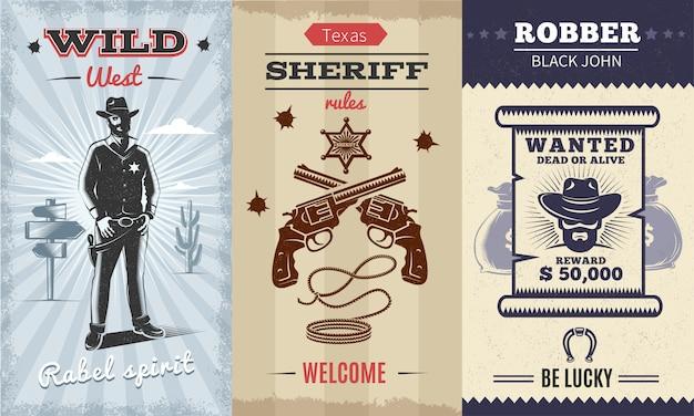 Урожай дикий запад вертикальный плакат с ковбоем на пустынный ландшафт скрещенные револьверы шериф Бесплатные векторы