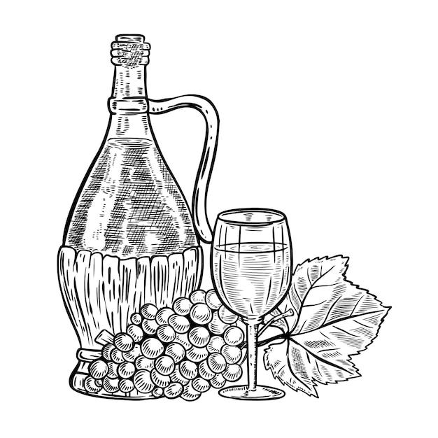 Винтажная бутылка вина с виноградом и бокалом. элементы для меню, плакат, открытка. иллюстрация Premium векторы