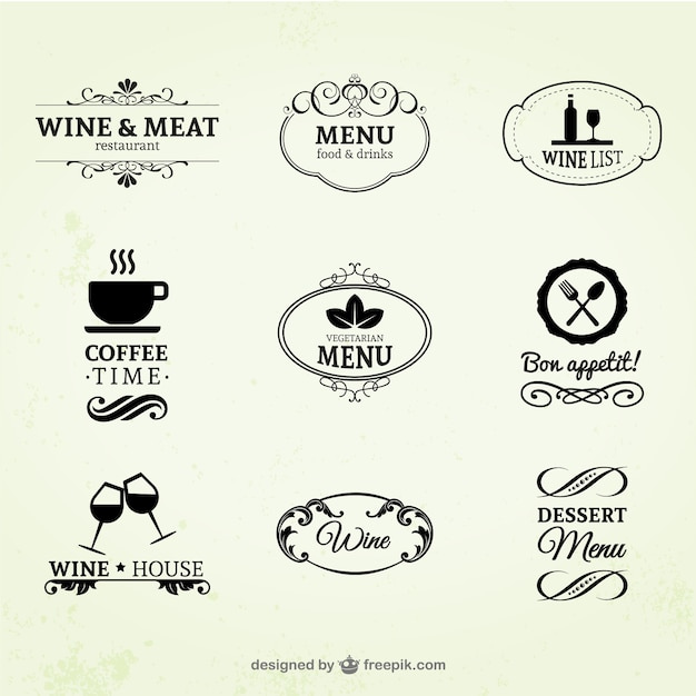 Vintage wine, restaurant and coffee labels Free Vector