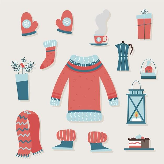 Abiti invernali ed elementi essenziali vintage Vettore gratuito