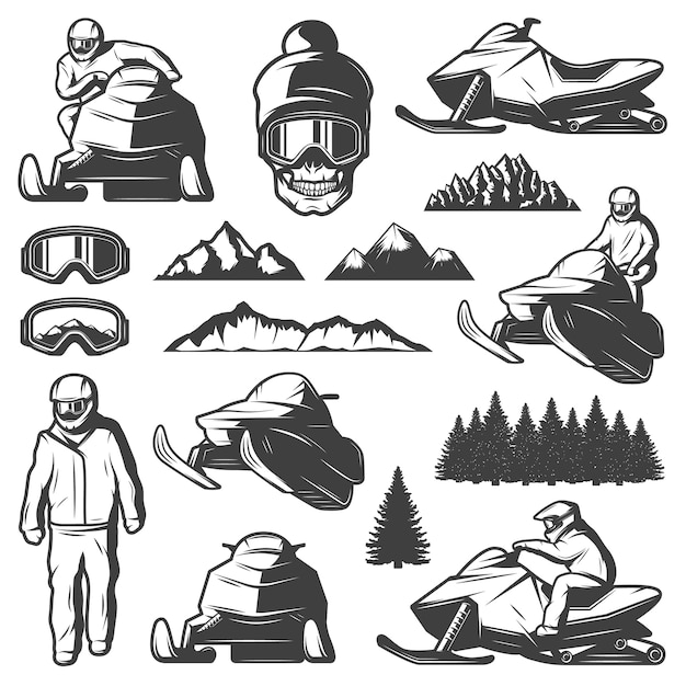 Vintage winter sport elements collection Free Vector