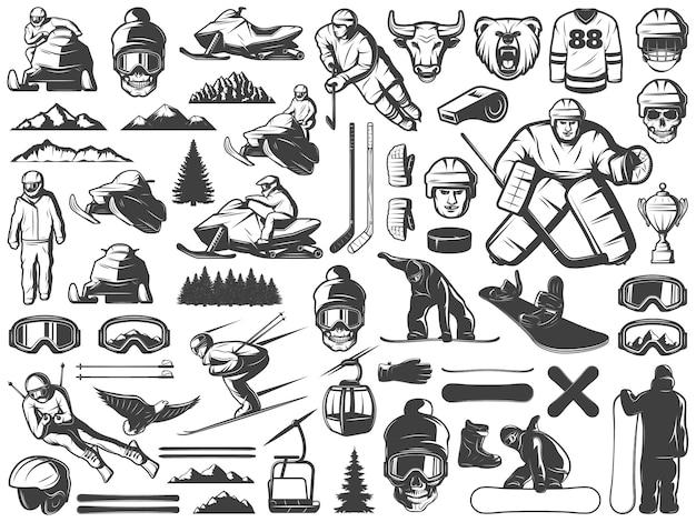 Коллекция икон старинные зимние спортивные игры Бесплатные векторы