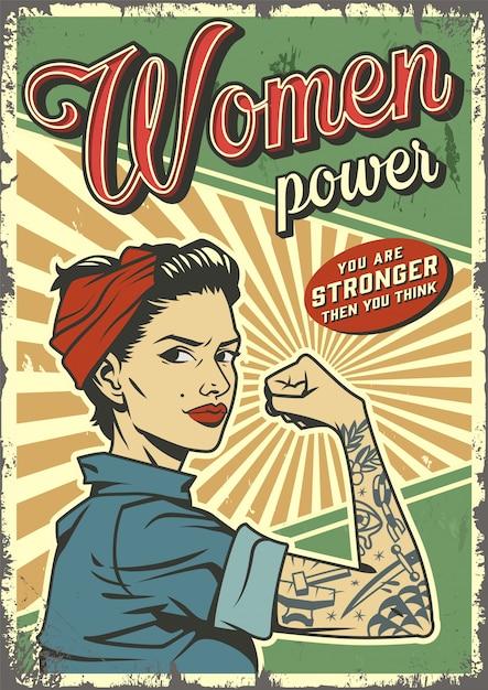 Урожай женщина сила плакат Бесплатные векторы