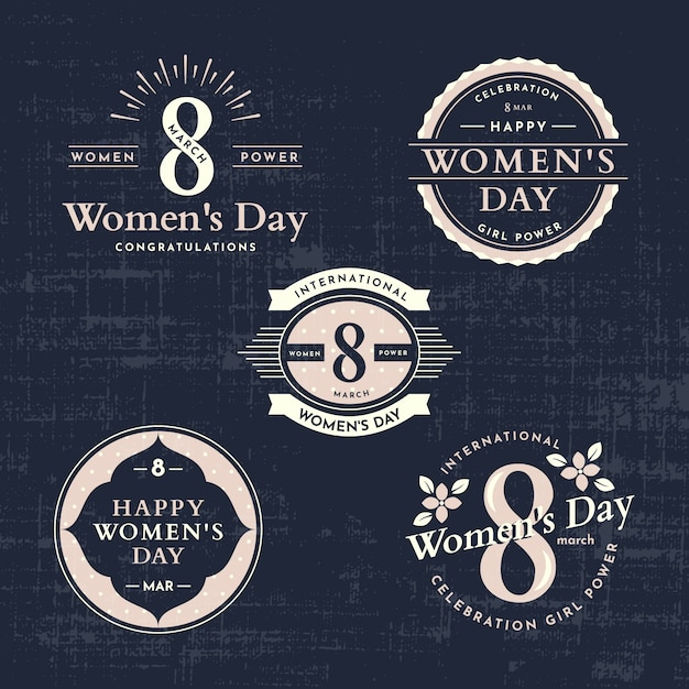 Vintage women day badge collection Free Vector