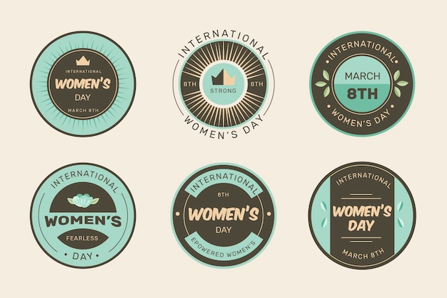 Vintage women's day badge collection Free Vector