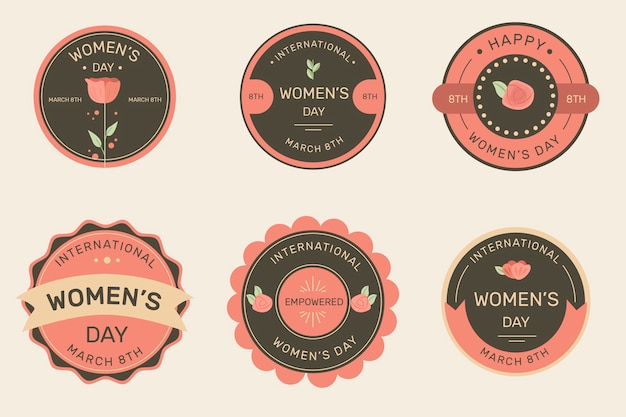 Vintage women's day label collection Free Vector