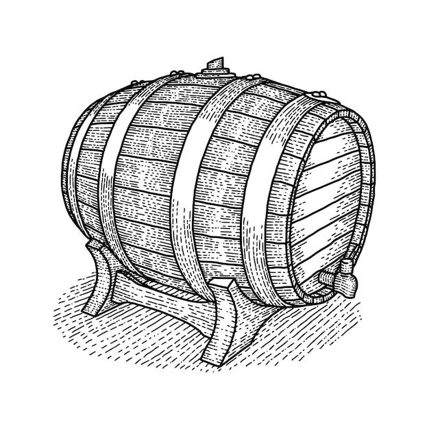 Винтажная деревянная бочка с хорошим виски или пивом внутри Бесплатные векторы