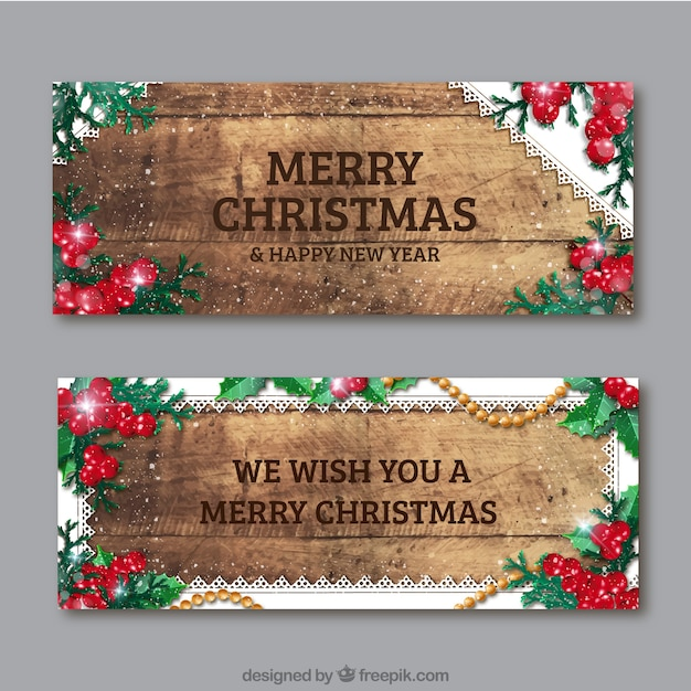 Vintage wooden christmas banner Free Vector