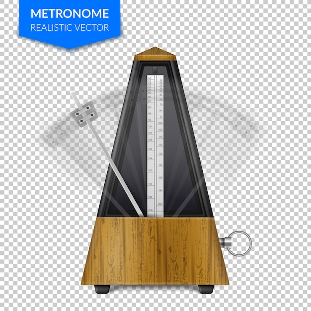 Vintage wooden style of classic metronome with pendulum in motion on transparent  realistic Free Vector