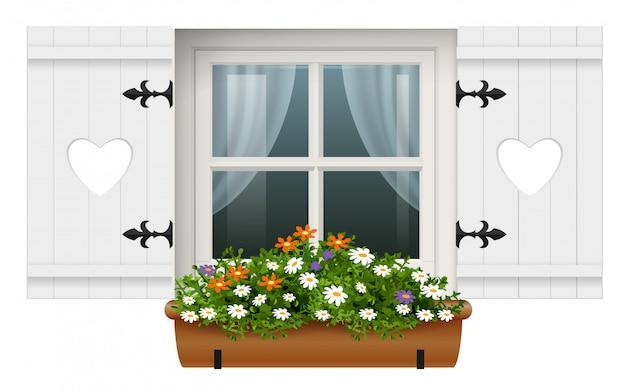 Vintage wooden window shutters flower pot Premium Vector