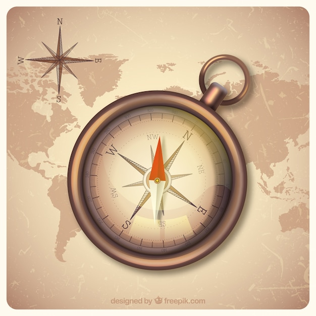 Vintage world map background with compass vector free download vintage world map background with compass free vector gumiabroncs Gallery