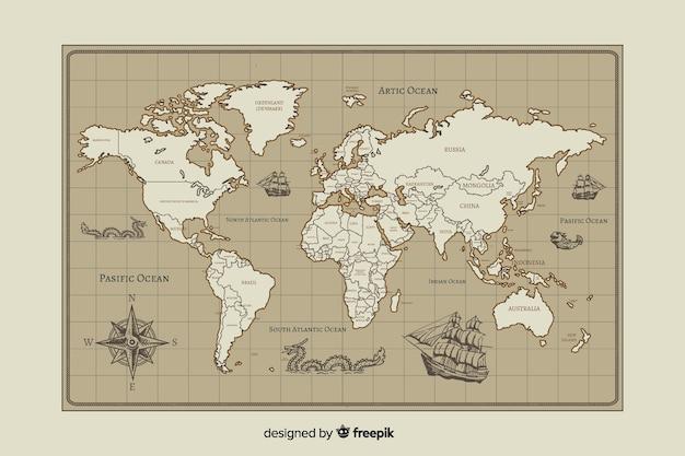 Винтажная карта мира дизайн картографии Бесплатные векторы