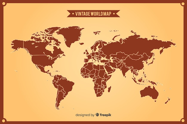 Vintage world map with continents Free Vector