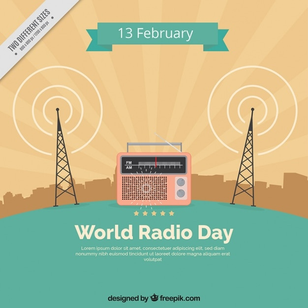 Vintage world radio day background Free Vector