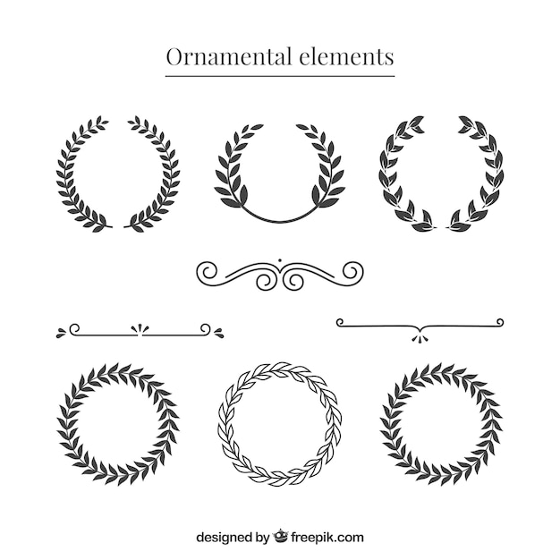 Vintage wreath and dividers Free Vector