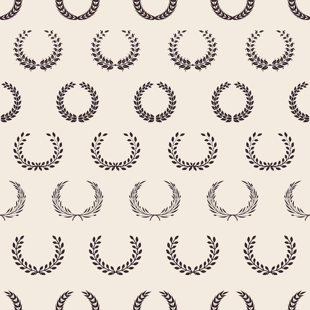 빈티지 화환 패턴입니다. 그리스 로렐, 상 원활한 텍스처. 올리브 가지 배경입니다. 프리미엄 벡터