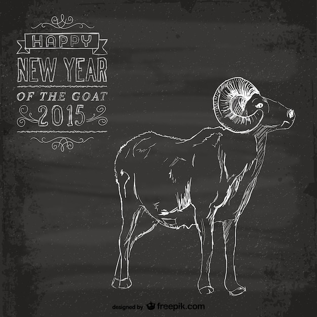 Vintage year of the goat card Free Vector