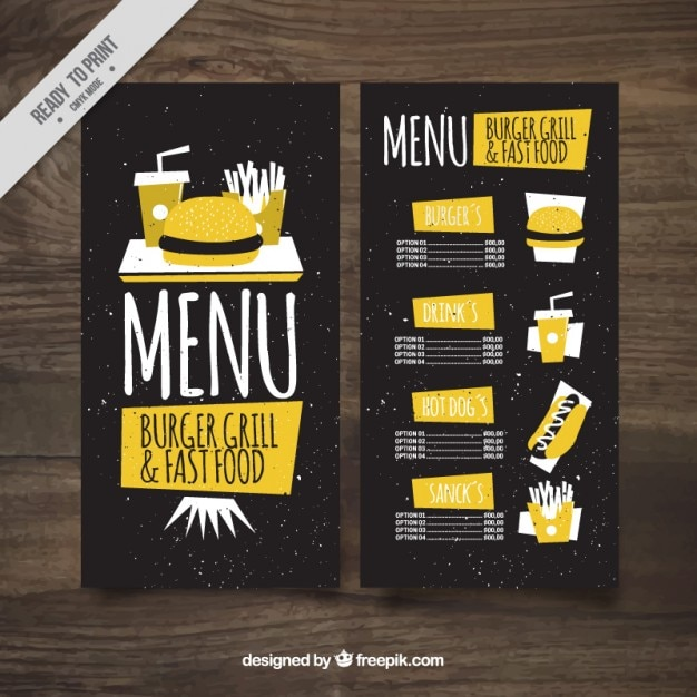 Vintage yellow burguer bar menu  Free Vector