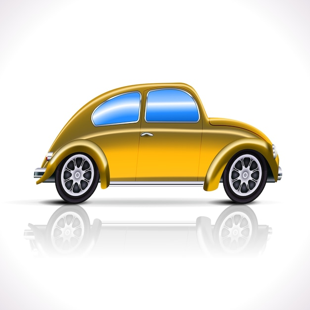 Vintage yellow car isolated Free Vector