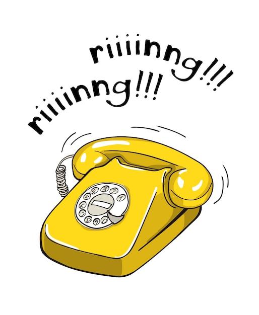 Vintage yellow telephone hand drawn illustration. Premium Vector