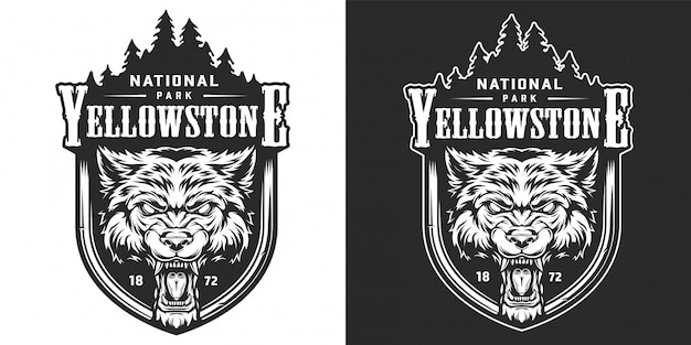 Vintage yellowstone national park emblem Free Vector