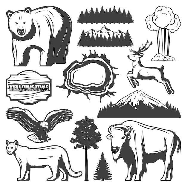 Vintage yellowstone national park icons set with animals forest mountain exploding geyser grand prismatic spring wooden plank isolated Free Vector