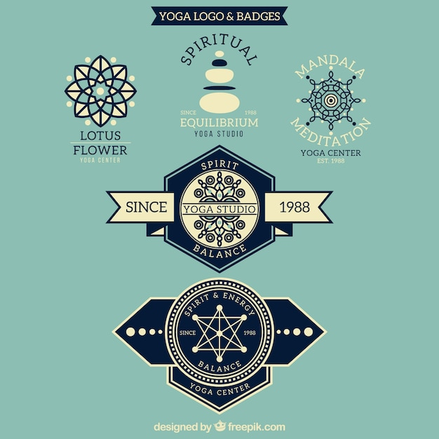 Vintage yoga logos and badges Free Vector