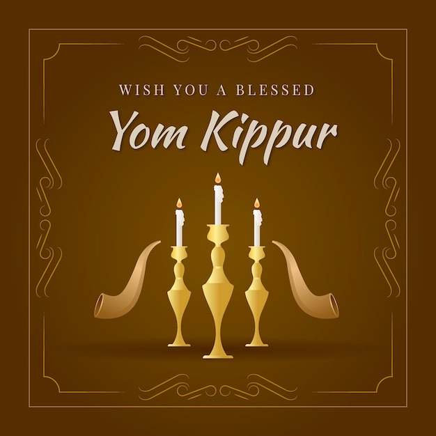 Vintage yom kippur with candles Free Vector